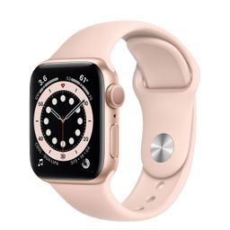 AppleWatch Series 6 GPS, 44mm Gold Aluminum Case with Pink Sand Sport Band - Regular | Apple (US)