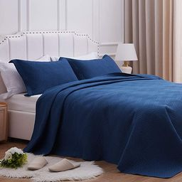 SunStyle Home Quilt Set Twin Size,Dark Blue Diamond Pattern Bedspread-68 x86, Soft Lightweight Mi... | Amazon (US)