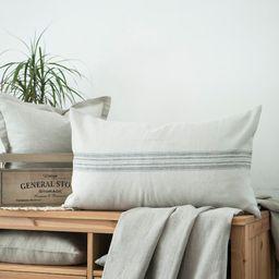 Farmhouse grain sack pillow Long linen lumbar pillow cover for country style decor Rough linen lu...   Etsy (US)