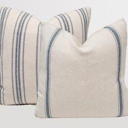 Blue Grain Sack Pillow Cover - Feed Sack Stripe Ticking, Zippered Throw Pillow Cover, Modern Farm...   Etsy (US)