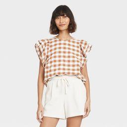 Women's Ruffle Short Sleeve Linen Top - A New Day™   Target