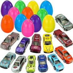 "JOYIN 12 Die-Cast Car Filled Big Easter Eggs, 3.2"" Bright Colorful Prefilled Plastic Easter Eggs ... | Amazon (US)"