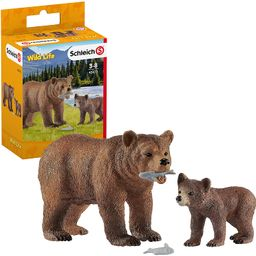 Schleich Wild Life Grizzly Bear Mother with Cub and Fish 4-piece Playset for Kids Ages 3-8 | Amazon (US)
