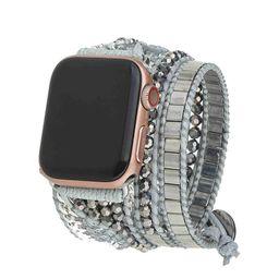 Silver Tila Beads Apple Watch Strap | Victoria Emerson