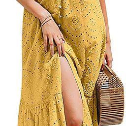 BerryGo Women's Embroidery Pearl Button Down Dress V Neck Spaghetti Strap Maxi Dress | Amazon (US)