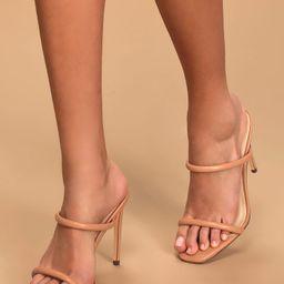 Theyaa Tan Square-Toe High Heel Sandals | Lulus (US)