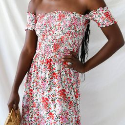 View from the Meadow Cream Floral Print Off-the-Shoulder Dress | Lulus (US)