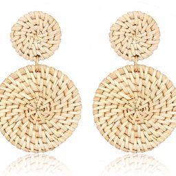 Weave Straw Double Disc Drop Earrings Boho Rattan Dangle Statement Earrings   Amazon (US)