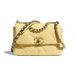 Tweed, Gold-Tone, Silver-Tone & Ruthenium-Finish Metal Yellow & Pink CHANEL 19 Flap Bag   CHANEL   Chanel, Inc.