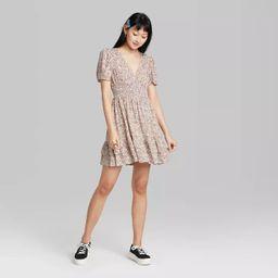 Women's Short Sleeve Plunging Smocked Waist Dress - Wild Fable™   Target