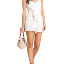 Lush Clothing Women's Button Front Tie Waist Romper | Walmart (US)