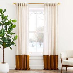 European Flax Linen & Luster Velvet Curtain - Natural/Golden Oak | West Elm (US)