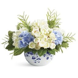 Blooming Mixed Hydrangea in Ming Vase   Frontgate   Frontgate
