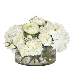 Hydrangea & Snowball in Clear Vase   Frontgate   Frontgate