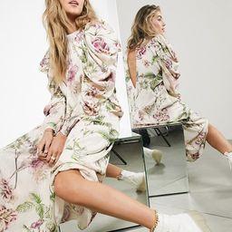 ASOS EDITION satin jacquard trapeze midi dress in pink large floral print   ASOS (Global)