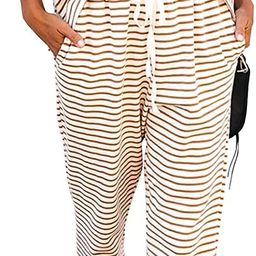 MITILLY Women's Striped 2 Piece Outfits Crewneck Pullover Tops and Long Pants Sweatsuit Loungewea... | Amazon (US)