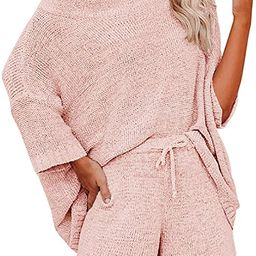 Ermonn Womens 2 Piece Outfits Sweater Sets Off Shoulder Knit Tops Waist Short Suits Casual Pajama... | Amazon (US)
