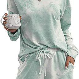 Margrine Women's Tie Dye Printed Pajamas Set Long Sleeve Tops with Shorts Long Lounge Set Casua... | Amazon (US)