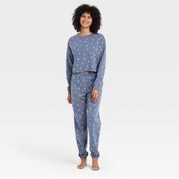 Women's Floral Print Fleece Lounge Sweatshirt - Colsie™ Blue | Target