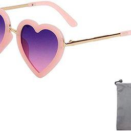 Heart Shaped Sunglasses for Girls (Age 3-10)   Amazon (US)