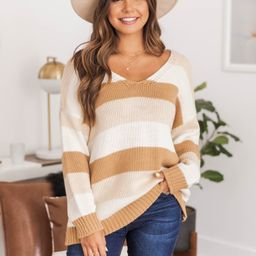 Charming Words Striped Sweater Brown FINAL SALE | The Pink Lily Boutique