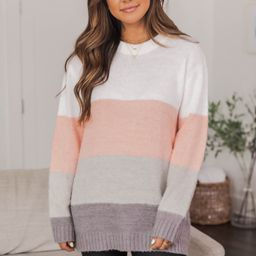 You Are Unforgettable Colorblock Pink Sweater FINAL SALE | The Pink Lily Boutique