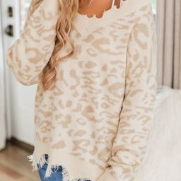 Embrace My Heart Beige Animal Print Sweater FINAL SALE | The Pink Lily Boutique