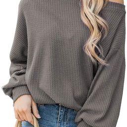iGENJUN Women's Off Shoulder Batwing Sleeve Loose Pullover Sweater Tops | Amazon (US)