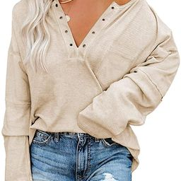 Cutiefox Women's Long Sleeve Tunic Tops V Neck Casual Loose Fit Pullover Blouses Shirt | Amazon (US)
