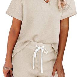 MEROKEETY Women's Long Sleeve Pajama Set Henley Knit Tops and Shorts Sleepwear Loungewear | Amazon (US)