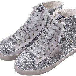 Adult Women's Flat High Top Glitter Fashion Sneakers Lace up Casual Fashion Star Shoes | Amazon (US)