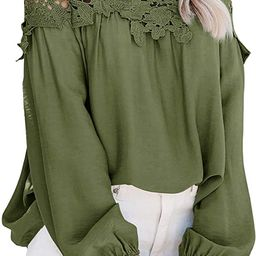 Adreamly Women's Lantern Long Sleeve Lace Crochet Off The Shoulder Tops Loose Blouses | Amazon (US)