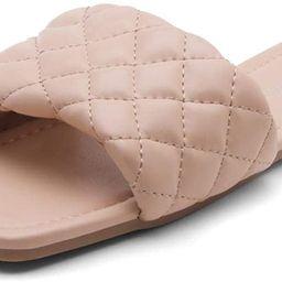 Shoe Land Anisha Women's Square Open Toe Slides Cute Quilted Single Band Slip on Flat Sandals | Amazon (US)