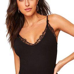SheIn Women's V Neck Sleeveless Lace Trim Spaghetti Strap Slim Fit Camisole Cami Tank Top | Amazon (US)