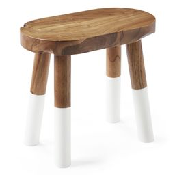 Dip-Dyed Oval Stool – White | Serena and Lily
