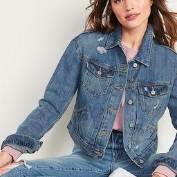 Cropped Distressed Jean Jacket for Women   Old Navy (US)