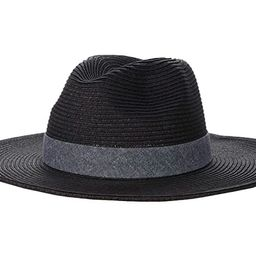 San Diego Hat Company UBM4457 Panama Fedora Hat with Chambray Band (Black) Fedora Hats | Zappos