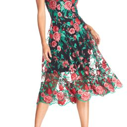 Women's Dress The Population Uma Floral Embroidered Tulle Dress, Size XX-Large - Red | Nordstrom