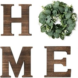 Yoleshy Wooden Home Sign with Artificial Eucalyptus Wreath for O, 9.8'' Home Letters with Wreath ... | Amazon (US)