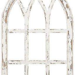 """Farmhouse Arched Window Pane in Distressed White Finish – 30"""" Tall Rustic Frame for Wall & Fi... 