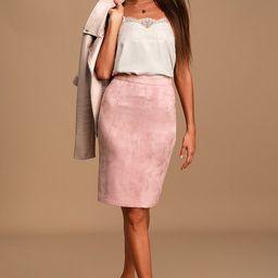 Superpower Blush Suede Pencil Skirt | Lulus (US)