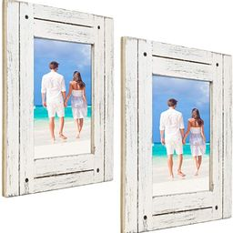Rustic Shabby Chic White Weathered Distressed Vintage Style Wooden Picture Frame with Self-Stand ... | Amazon (US)