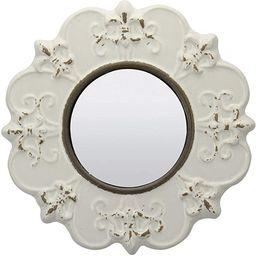 Stonebriar White Round Antique Ceramic Wall Mirror, Vintage Home Décor for Living Room, Kitchen,... | Amazon (US)