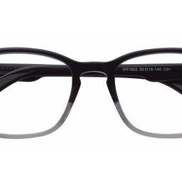 Transparent Gradient Black Horn-Rimmed Hipster Acetate Square Blue Light Glasses   Yesglasses