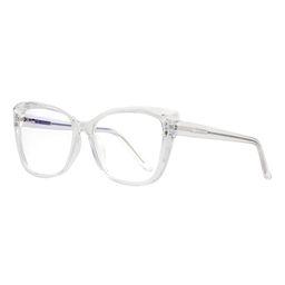 YK Glasses Women's Reading Glasses clear - Clear Diamond-Cut Cat-Eye Blue Light Glasses - Women   Zulily