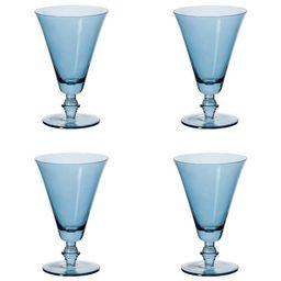 Set of Four Small Elne Champagne Flutes - Sapphire | OKA Direct (UK)