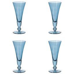 Set of Four Tall Elne Champagne Flutes - Sapphire | OKA Direct (UK)