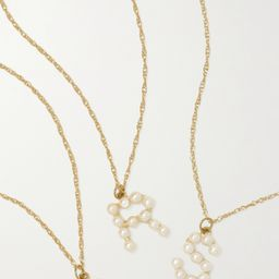 Gold Initial 10-karat gold pearl necklace | STONE AND STRAND | NET-A-PORTER | Net-a-Porter (US)
