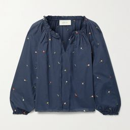 Midnight blue The Posey gathered embroidered cotton-voile blouse | The Great | NET-A-PORTER | Net-a-Porter (US)