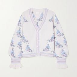 Cream Boscom intarsia merino wool-blend cardigan | LoveShackFancy | NET-A-PORTER | Net-a-Porter (US)
